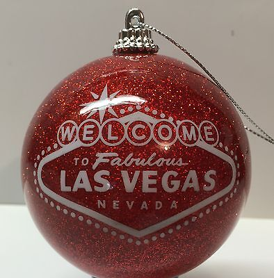 Las Vegas Sign Red Glitter Christmas Tree Ball Ornament Holiday Casino