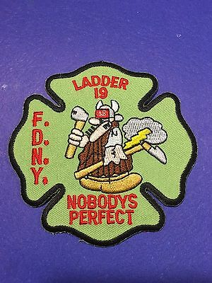 New York City Fire Dept Ladder 19 Nobodys Perfect Shoulder Patch