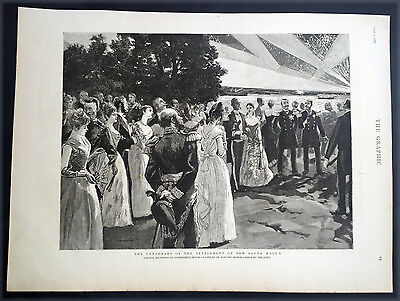 1888 The Graphic Original Antique Print Celebration of 100 years Settlement NSW