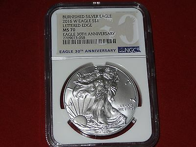 2016 W 30th ANNIVERSARY UNCIRCULATED BURNISHED SILVER AMERICAN EAGLE NGC MS 70.