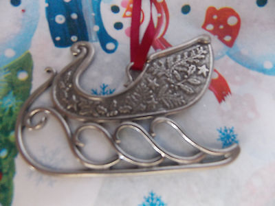 Danforth Pewterers SLEIGH Handcrafted Pewter Christmas Ornament rare