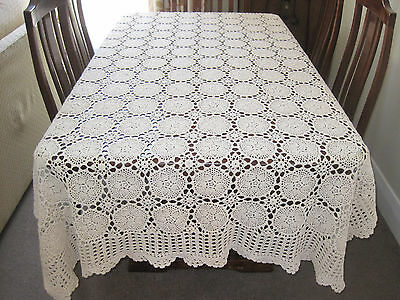 Gorgeous Vintage Hand Worked Cream Crochet Lace Rectangular Tablecloth