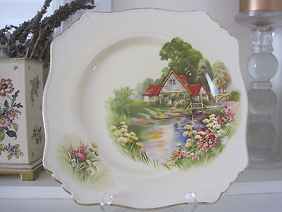 Beautiful Vintage Royal Winton Red Roof Square Display Plate