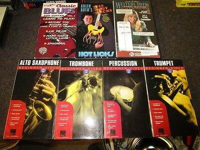 7 vintage music instrument instruction VHS tapes guitar sax trumpet percussion
