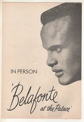 """""""Harry Belafonte at the Palace""""  Playbill  1959"""