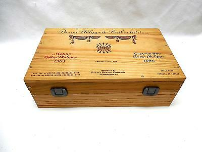 Vintage 1986 Wood Gift Wine Box Baron Philippe de Rothschild Held 2 Bottles