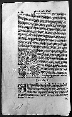 1628 Munster Antique Print of Coins, City Fire, Eagle from Turkey