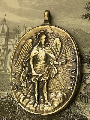 Antique Spanish Colonial O.L. of Guadalupe & St. Michael Archangel 1682 Medal