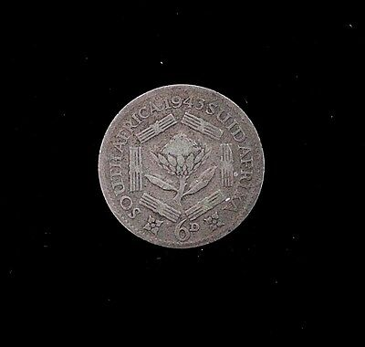 1943 South Africa 6 Pence Silver Coin KM 27