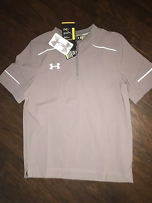NWT-Under Armour Boys Cage Loose Fit Baseball Jacket XL Gray $50 Pullover