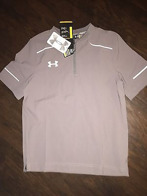 NWT-Under Armour Boys Cage Loose Fit Baseball Jacket S Gray $50 Pullover