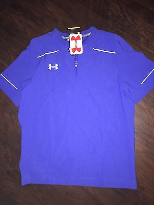 NWT-Under Armour Boys Cage Loose Fit Baseball Jacket XL Blue $50 Pullover