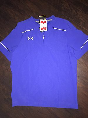 NWT-Under Armour Boys Cage Loose Fit Baseball Jacket L Large Blue $50 Pullover