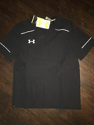 NWT-Under Armour Boys Cage Loose Fit Baseball Jacket Small S Black $50 Pullover