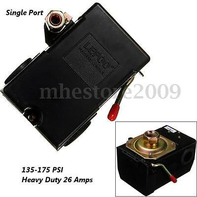 Single 1 Port Pressure Switch For Air Compressor 135-175PSI Heavy Duty 26Amps
