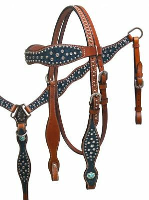 Western Horse Bling Leather Bridle Headstall W/split Reins & Breast Collar Plate