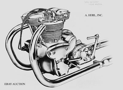 Indian Scout Twin cylinder engine photo 1949 motorcycle photograph