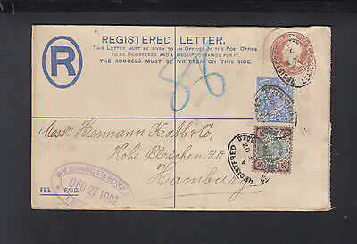 Great Britain Registered Letter 1902 to Germany Perfins