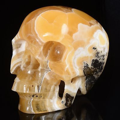 """5.98""""Natural Yellow Calcite Hand Carved Smiling Skull,Collectibles #22S76"""