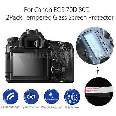 2 Pack Tempered Glass Screen Protector + LCD Guard Film For Canon EOS 70D 80D