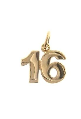MADE IN ITALY 0.7 INCHES 17 MM 18K YELLOW GOLD NUMBER 7 SEVEN PENDANT CHARM