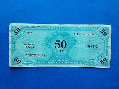 1943 Italy 50 Lira, Allied Military Currency, Pick M14b, Good Fine