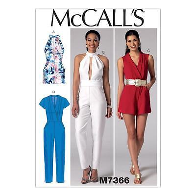 McCALL'S SEWING PATTERN MISSES' ROMPERS JUMPSUITS & BELT SIZE 6 - 22 M7366