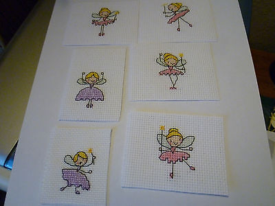 completed cross stitch tag toppers...angels x 6