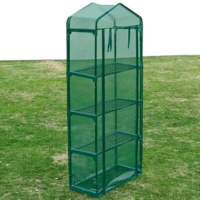 #sNew Garden Greenhouse Green House Storage Shade Frame With 4 Shelves PVC Cover