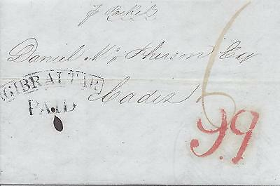 Gibraltar 1841 entire to Spain framed arc Paid, red 9q accountancy