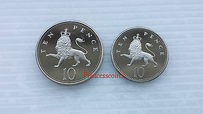 Set Of 1992*unc*uk 10P Ten Pence Proof Coins- Large & Small Type