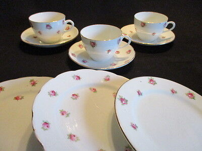 Vintage Ditsy Rosebuds English china mismatched tea cups, saucers, plates x 3