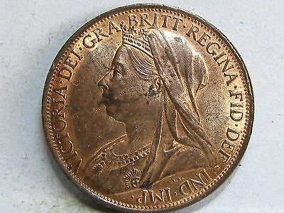Victorian **veiled Head** Bronze Penny Coin Dated 1901