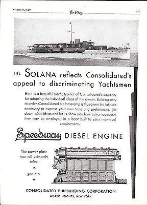 """1929 Consolidated Shipbuilding Corp Ad- Nice Photo of Yacht """"Solana"""""""