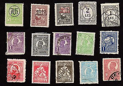 Stamps ~ ROMANIA Roumania Includes OVERPRINTS & Taxa de PLATA ~ Early UNSORTED