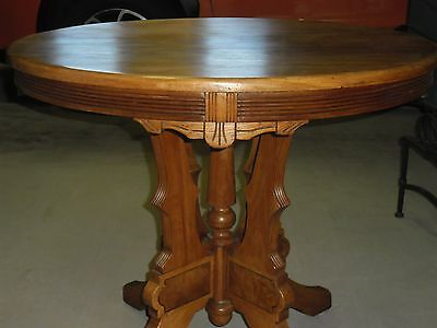 Eastlake Occasional Table - Solid Walnut -  ' Round With Carved Legs - Beautiful