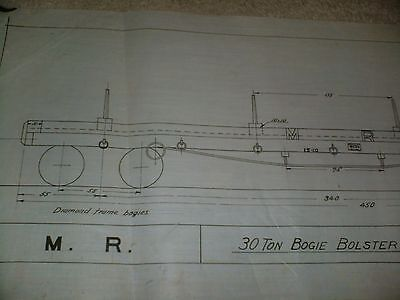 Midland Railway 30 Ton Bogie Bolster Wagon Drawing Edwards Bros