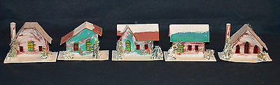Putz Village Houses Light Covers - Stamped Japan Set of 5 with Sponge Trees
