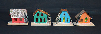 Putz Village Houses Light Covers - Stamped Japan Set of 4 with Glitter Roof