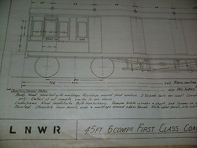 London & North Western Railway 45ft First Class Coach Drawing Edwards Bros