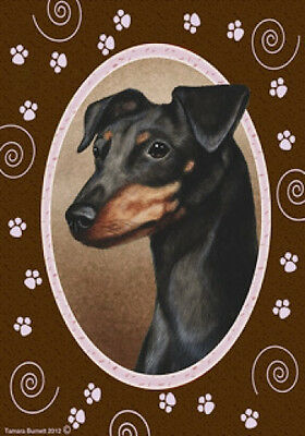 Large Indoor/Outdoor Paws Flag - Uncropped Black & Tan Miniature Pinscher 17084
