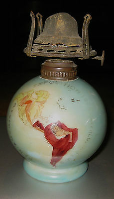 1901 Pan American Exposition Oil Lamp Unusual Turquoise Color
