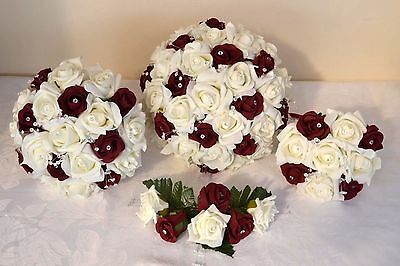 BURGUNDY & ivory white wedding bouquet posy flowers bridesmaid bride buttonholes