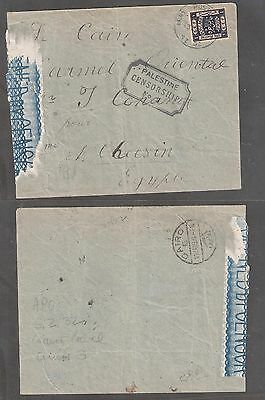 Palestine 1919 Cover Passed By Censorship N 8 Army Postto Egypt Cairo - A3