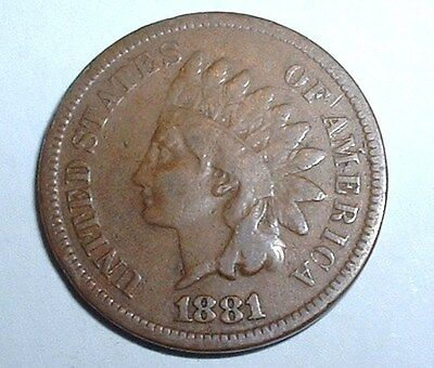 Rare 1881 US - United States - Indian Head One Cent - Good Detail - A119