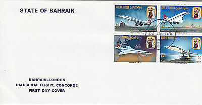 1976 Bahrain Concorde First Flight To London Block Ofstamps First D  Sg232-4