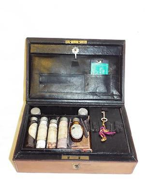 Antique leather Apothecary case with bottles William Wallace Glasgow.