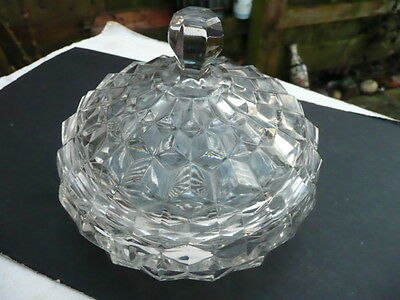 Fostoria American Cube Glass nappy and Cover - early one