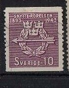 SWEDEN , 1943, SG267 TY58 10 ore PURPLE, USED....