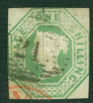SG 54 1/- Pale Greenfine used numeral & part red CDS Tread split & small reverse